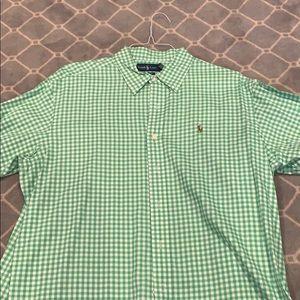 Men's XL Ralph Lauren green check button down